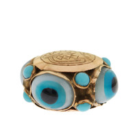 Vintage Evil Eyes With Turquoise 18k Gold Charm