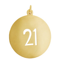"Vintage Disc Number ""21"" 14k Gold Charm"