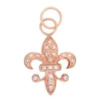 Vintage Diamond Fleur De Lis 14k Rose Gold Charm