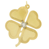 Vintage Large Clover With Diamond 14k Gold Charm