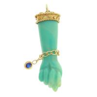 Vintage Green Bakelite Figa with Sapphire Bracelet 14k Gold Charm