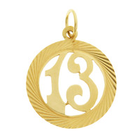 Vintage Lucky 13 14k Gold Charm