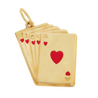 Vintage Red Enameled Royal Flush 14k Gold Charm