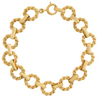 Vintage Patterned Circle 14k Gold Charm Bracelet