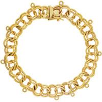 Vintage Ten Charm Classic Double Link 14k Gold Charm Bracelet
