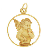 Vintage Angel with a Book 14K Gold Charm