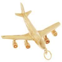 Vintage 747 Boeing Airplane 14k Gold Charm