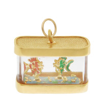 Vintage Aquarium With Fish 14k Gold Charm