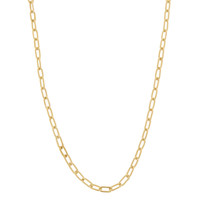 Vintage Long Heavy Oval 14k Gold Charm Necklace