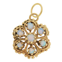Vintage Victorian Opal Flower 14k Gold Charm