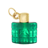 Vintage Green Celluloid Perfume Bottle 14k Gold Charm