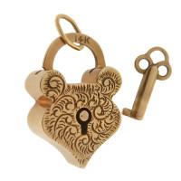 Vintage Victorian Floral Etched Heart Lock 14k Gold Charm