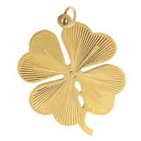 Vintage Large Lined Four Leaf Clover 14k Gold Charm