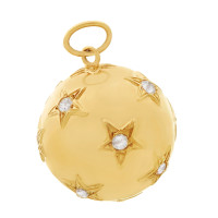 Vintage 40's Diamond Star-Set Orb 14K Gold Charm