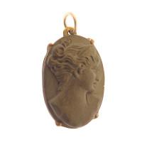 Vintage Carved Lava Cameo 14k Gold Charm