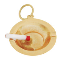 Enameled Cigarette in Ashtray 14k Gold Charm