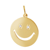 Smiley Face with Diamonds 14K Gold Charm