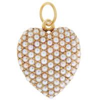 Vintage Victorian Seed Pearl Locket 14K Gold Charm
