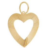 Vintage Outlined Heart 14K Gold Charm