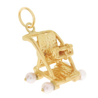 Vintage Pearl Movable Stroller 14k Gold Charm