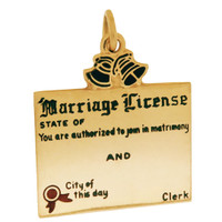 Vintage Enameled  Marriage License 14k Gold Charm