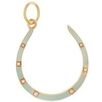 Vintage Sky Blue Enameled Horseshoe 14k Gold Charm