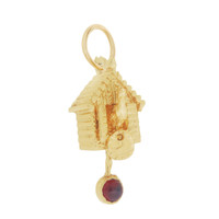 Vintage Ruby Cuckoo Clock 14K Gold Charm