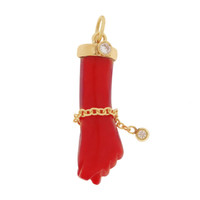 Vintage Coral Figa with Diamonds 14k Gold Charm