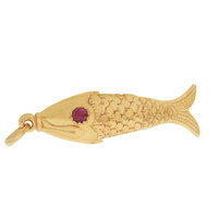 Vintage Articulated Fish with Ruby Eyes 18k Gold Charm