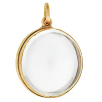 Vintage Hinged Glass Locket 14K Gold Charm