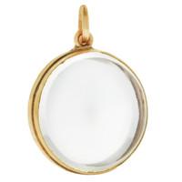 Vintage Hinged Glass Locket 14K Gold Charm