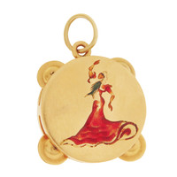Vintage Flamenco Tambourine 18k Gold Charm