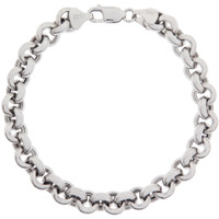 Heavy Rolo 14k White Gold Charm Bracelet