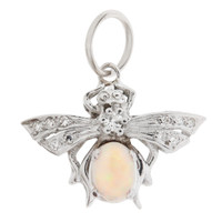 Vintage Opal Bee 14k White Gold Charm