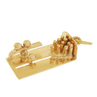 Vintage Movable Bowling 14k Gold Charm