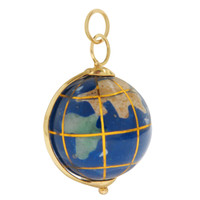 Vintage Spinning Lapis Globe 14k Gold Charm