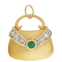 Vintage Emerald & Diamond Purse 14k Gold Charm