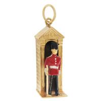 Vintage Enamel Queen's Guard 9k Gold Charm