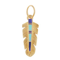 Vintage Feather With Turquoise & Lapis 14k Gold Charm