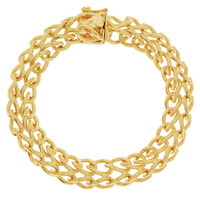 Vintage Rounded Double Curb  14k Gold Charm Bracelet