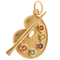 Large Painter's Palette with Gems 14k Gold Charm