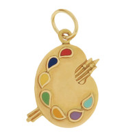 Vintage Colorful Paint Palette 14k Gold Charm
