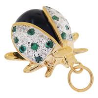Vintage Emerald & Diamond Onyx Ladybug 14k Gold Charm