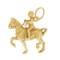 Vintage Gentleman on Horseback 14k Gold Charm