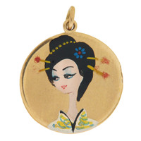 Vintage Hand Painted Japanese Geisha 18k Gold Charm