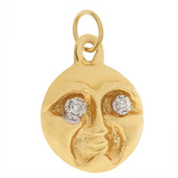 Vintage Diamond Eyed Moon 14k Gold Charm