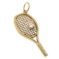 Vintage Diamond Tennis Racket 14k Gold Charm
