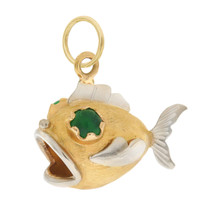Vintage Puffer Fish With Green Agate Eyes 18k Gold Charm