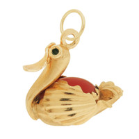 Vintage Swan with Coral 18k Gold Charm