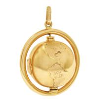 Vintage Large Spinning Globe 14k Gold Charm